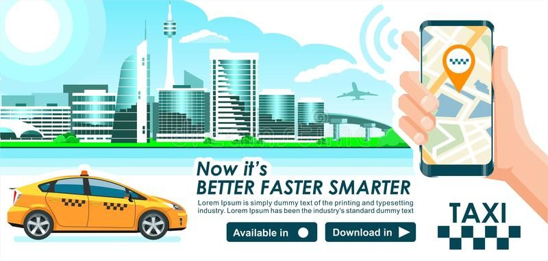 Taxi App Banner City Skyline Modern Buildings Hi Tech Taxi Cab