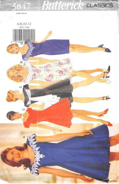 BUTTERICK 3847 - FROM 1995 - UNCUT - MISSES DRESS