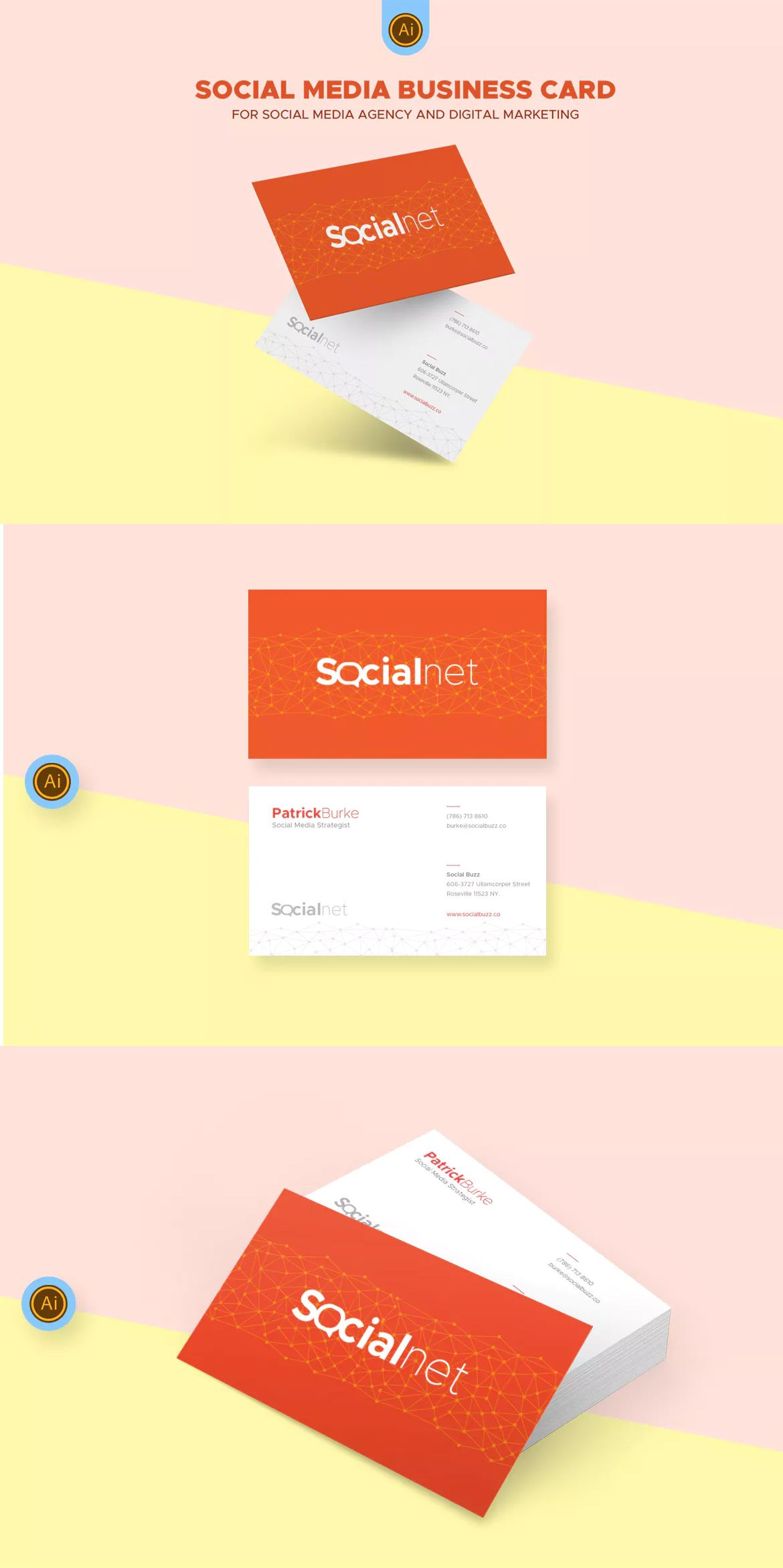 Social media business card template ai business card templates social media business card template ai friedricerecipe Choice Image