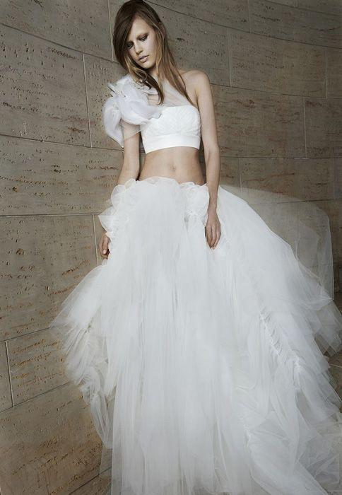 Vera Wang and Theia unveil crop top wedding dress at bridal week ...