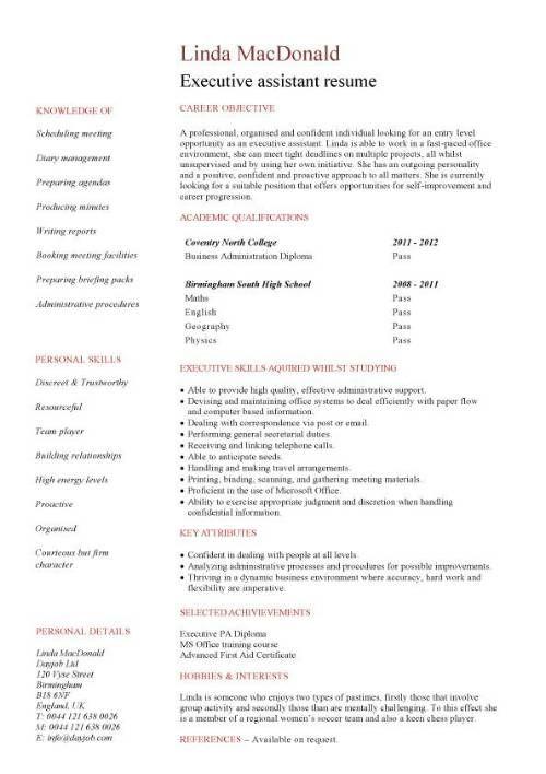 Cv Template No Experience Cv Template Pinterest Sample resume