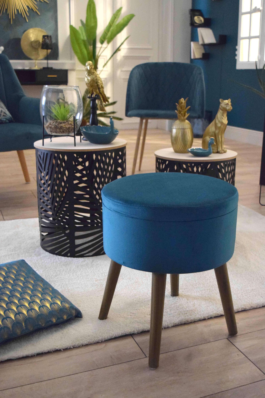 Tabouret Coffre Bleu Canard Pouf Design Decoration Interieure Decoration Maison
