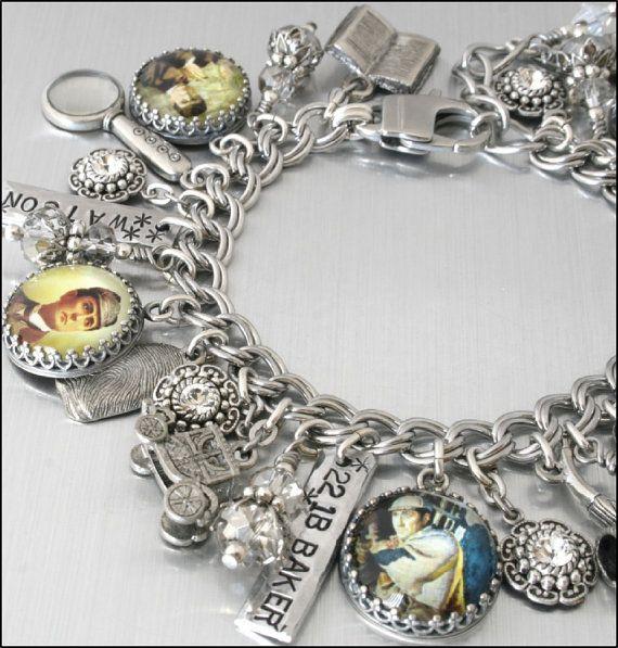 Sherlock Holmes Bracelet, Mystery Fan Gift, Dr. Watson Jewelry, 221B Baker Street, Arthur Conan Doyle Charms