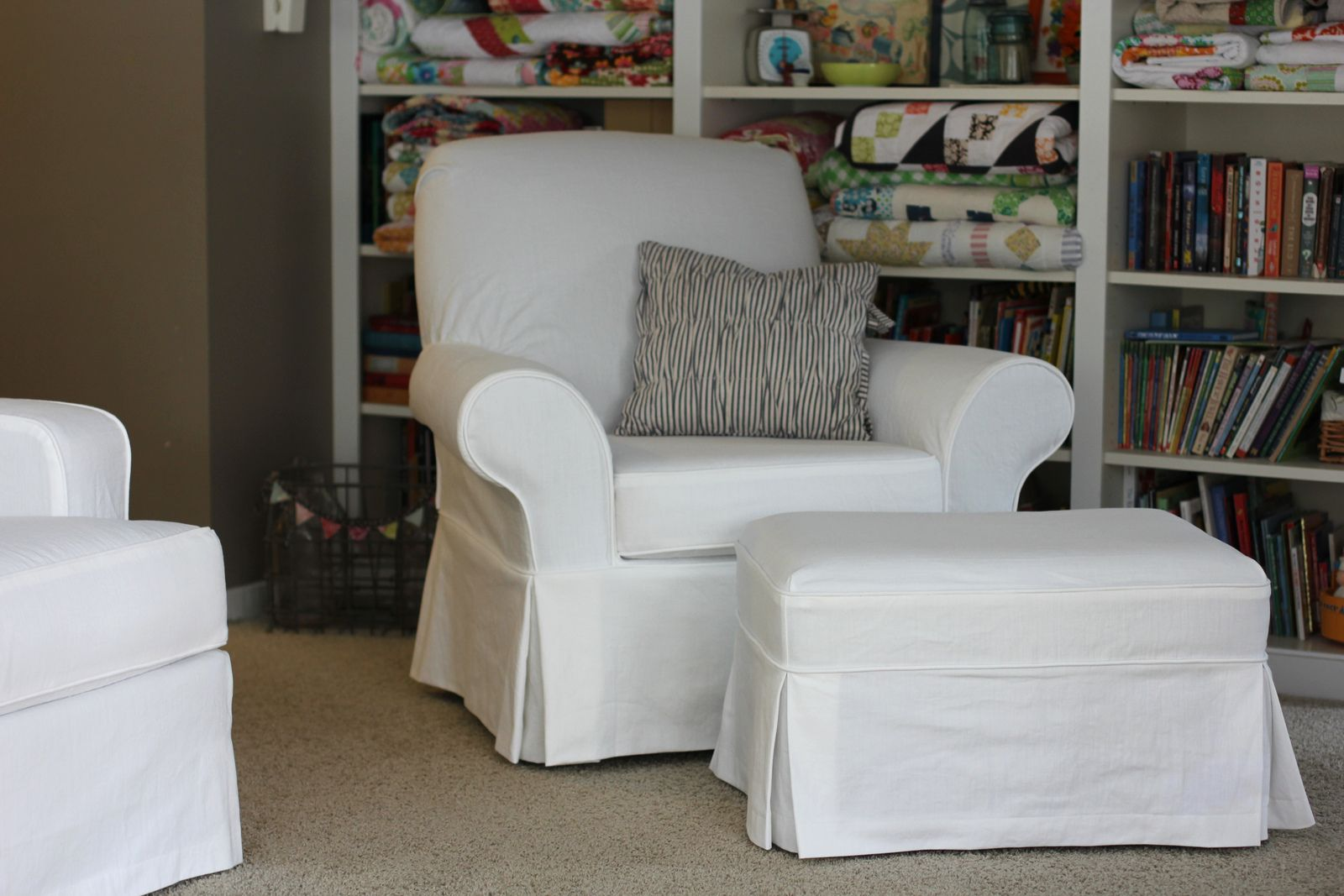 Slipcover For Oversized Chair And Ottoman Twin Fibers Slipcovers