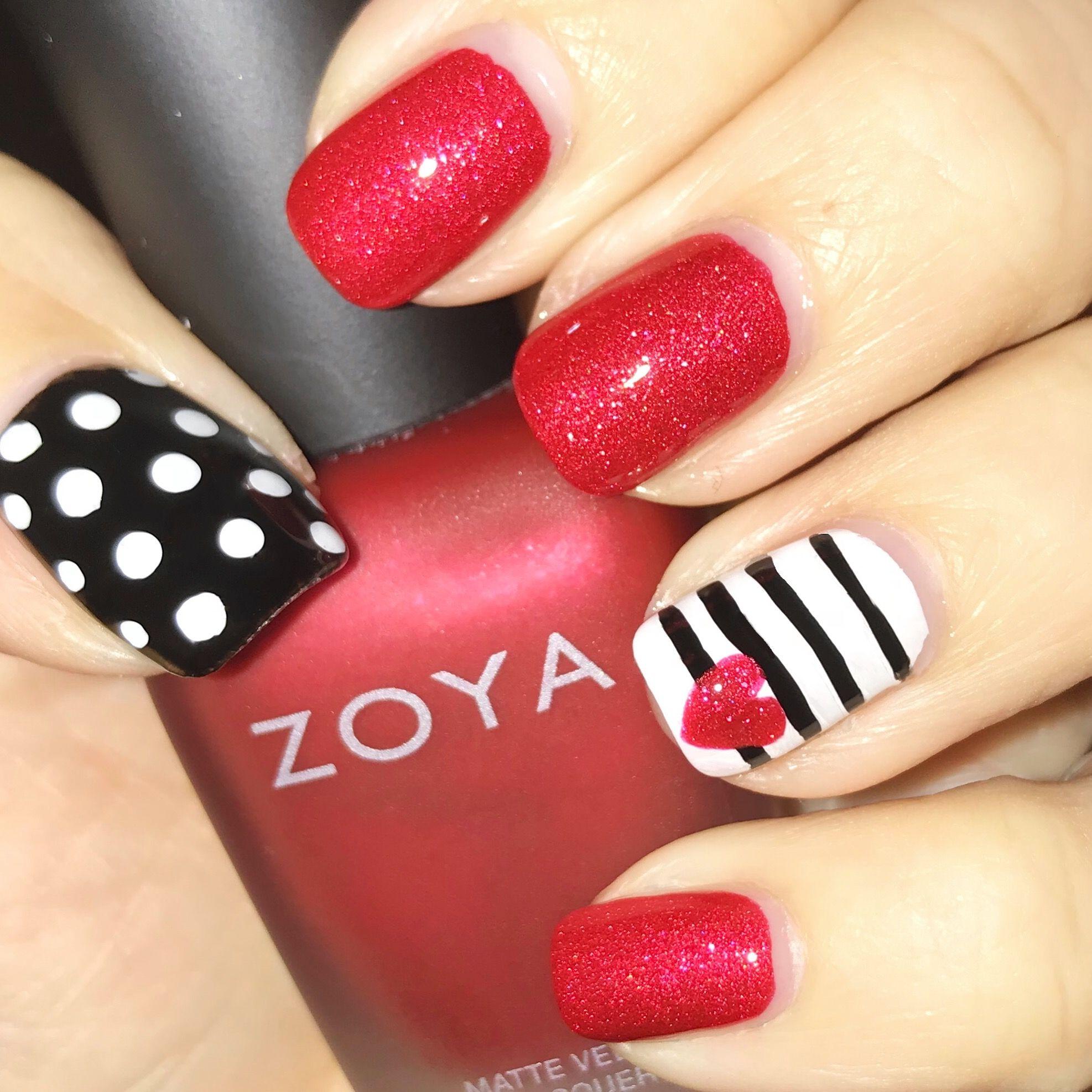 Black Red Valentine Nails Zoya Amal Valentines Nails Nail