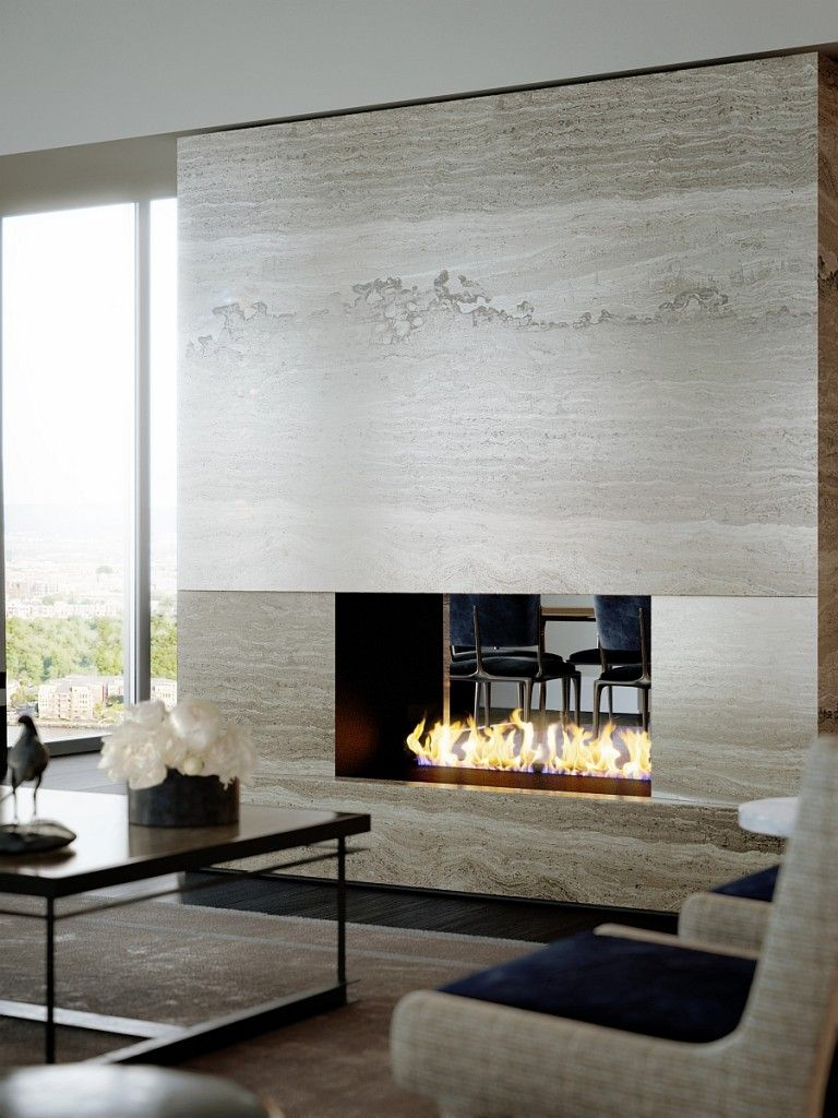 Fireplace Interiors Contemporary Fireplaces Modern Stone Linear Ethanol Double