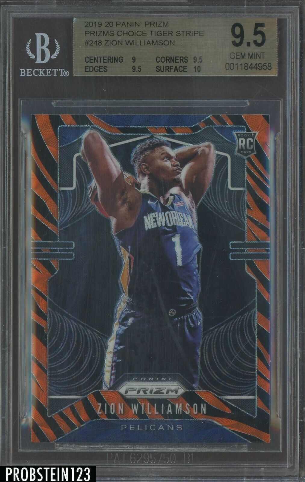 Oh My Zion Williamson Card 19 20 Prizm Rc Tiger Stripe Bgs 9 5 In 2020 Tiger Stripes Basketball Pictures Williamson