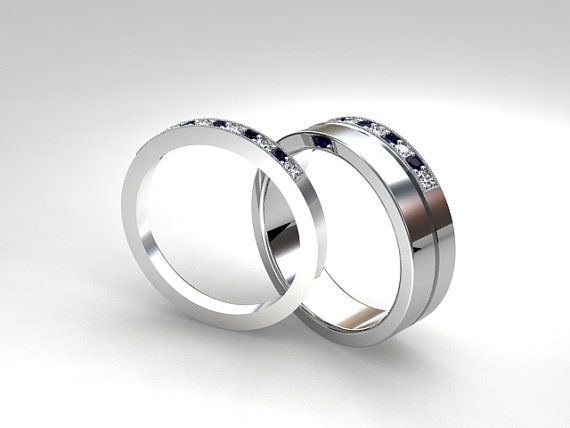 Palladium wedding band set Blue sapphire Diamond mens wedding