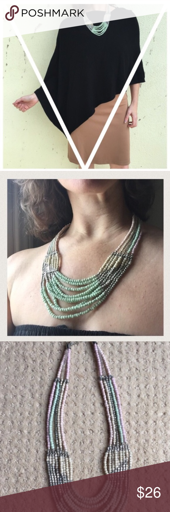 Anthro NECKLACE beaded STATEMENT BIB multi strand Beautiful BeadEd bib STATEMENT necklace...! Lovely pastel shades of green, pink, and beige.  Soft colors that go with so much! Elegant and soho boho chic. With silver tone beads and chain extension. (Ju24) Anthropologie Jewelry Necklaces