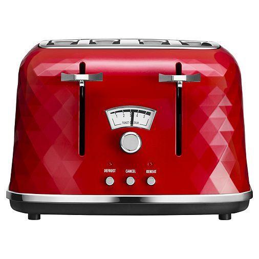 Delonghi Ctj4003 R Brillante Designer 4 Slice Toaster Red And Chrome