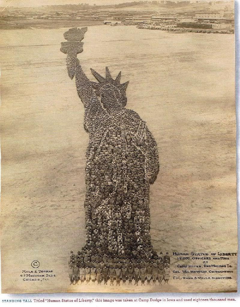 ❥ 1918, Human Statue of Liberty