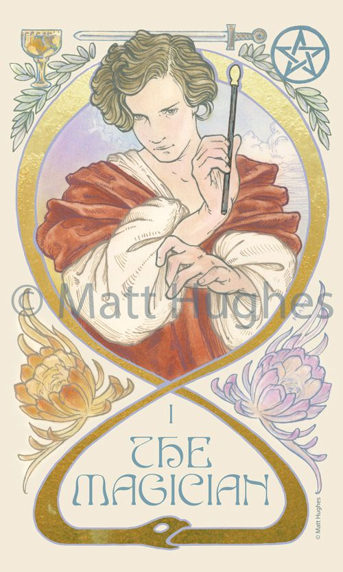 The Magician tarot card from the tarot deck by Art Nouveau artist