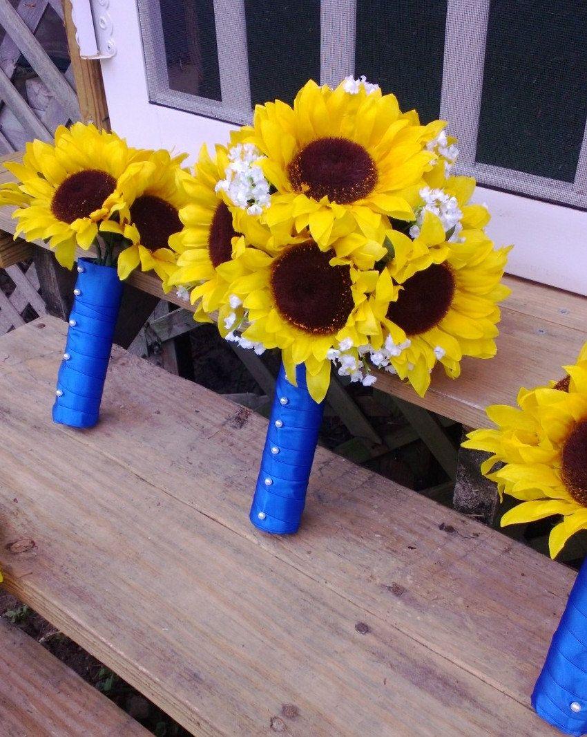 10 Piece Sunflower Bouquet Yellow Wedding Flower Set Bridal Horizon Blue