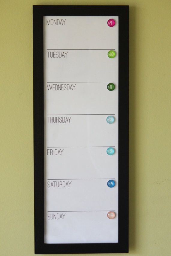 Framed Wall Calendar vertical magnetic dry erase custom framed calendar - magnets sold