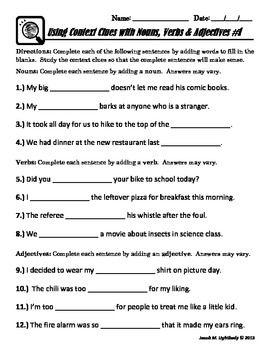 Nouns Verbs Adjectives A Context Clues Activity Context Clues Context Clues Activities Nouns Verbs Adjectives Identifying parts of speech worksheets