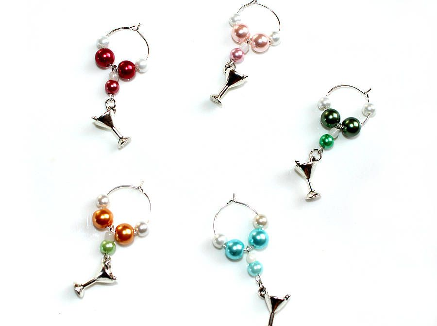 Beaded Coctail Glass Marker Charms Pendant For Wine Champagne