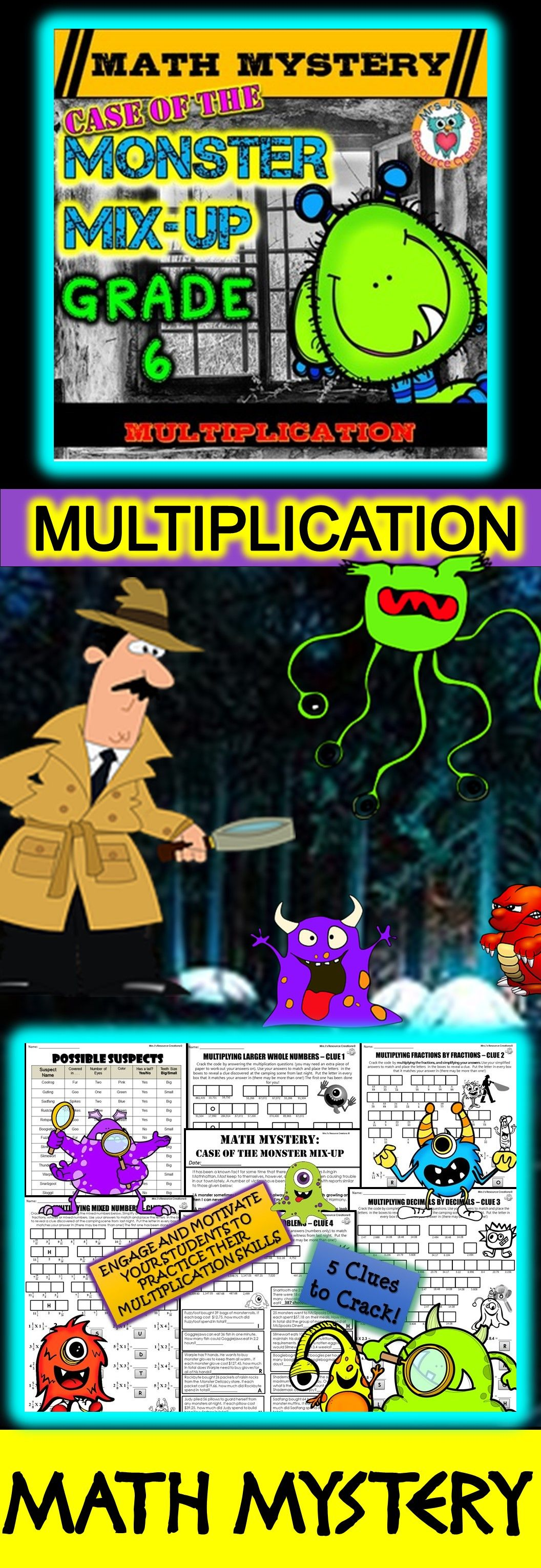 Multiplication Math Mystery Activity Multiplying Wholes