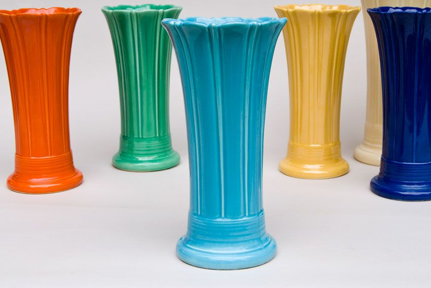 Vintage Fiesta 10 Inch Original Turquoise Fiestaware Pottery Vase