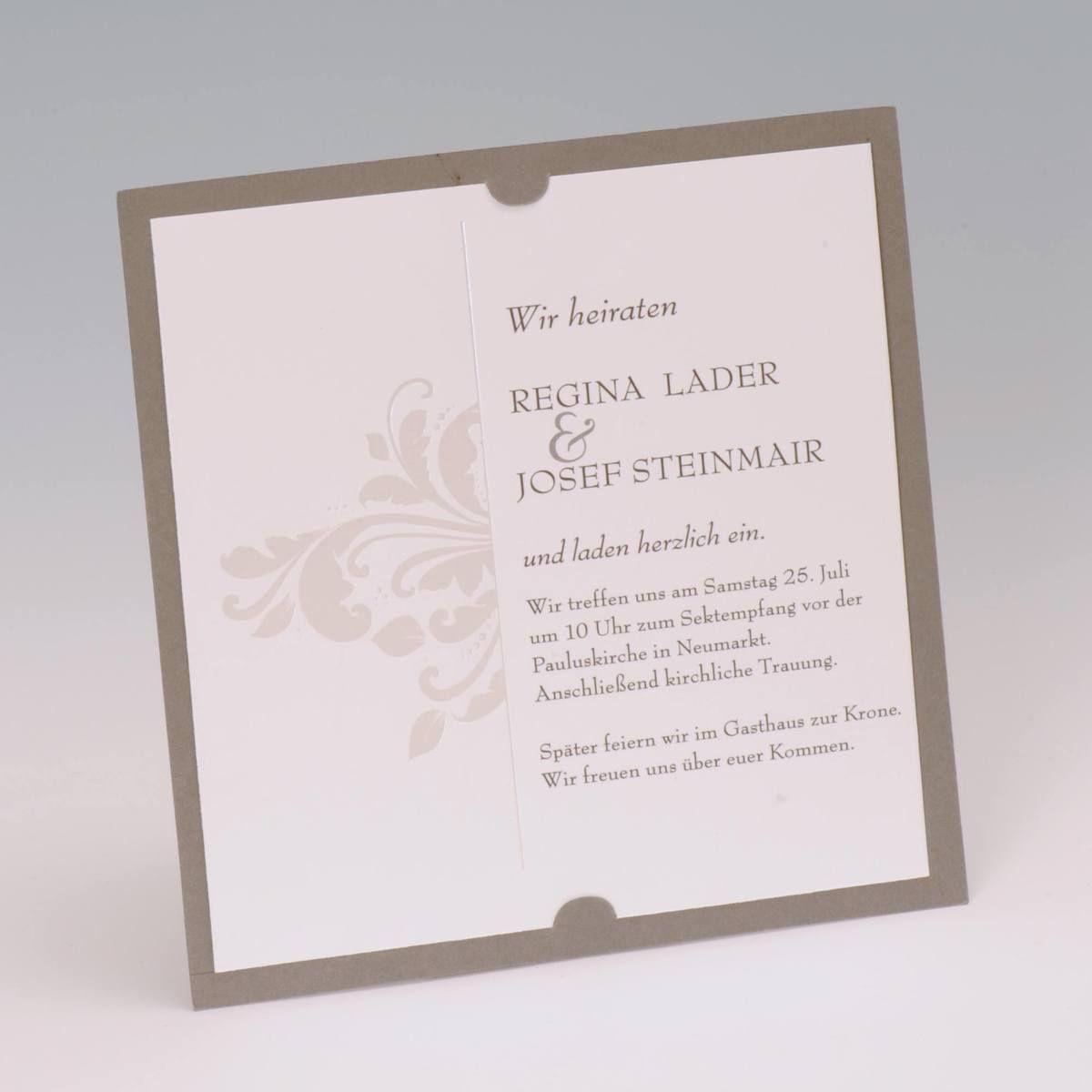 Eine Dezente Einladung Zur Hochzeitsfeier In Modernem Grau:  Https://www.karteninsel
