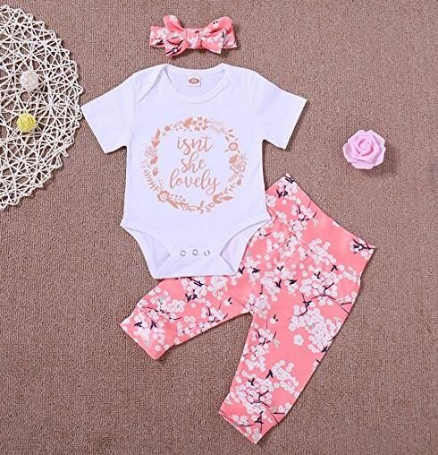 363583b24 PROBABY Baby Girl Clothes Set Short Sleeve White Romper Jumpsuit ...