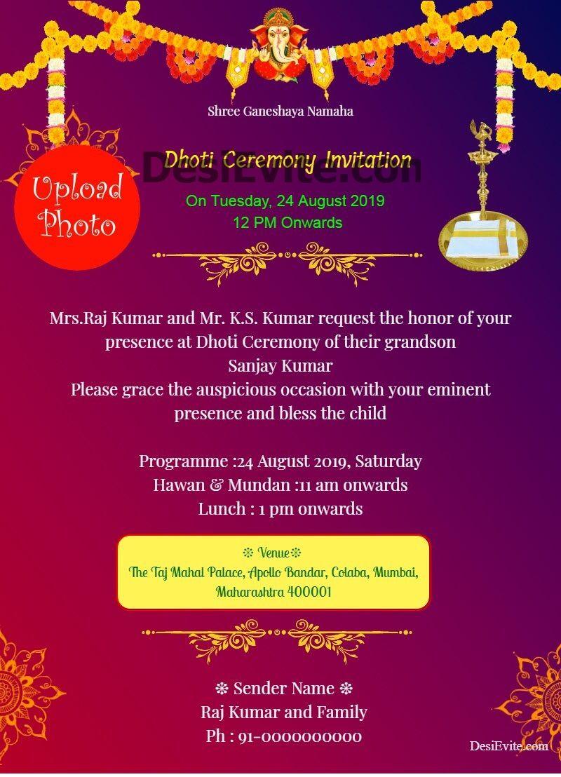 Traditional Dhoti Invitation Puttu Panchala Function Card Invitations Online Invitations Personalized Invitations