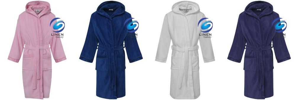 Kids Girls Boys 100% Egyptian Cotton Velour Terry Towelling Bath Robe Hooded 309d2772a