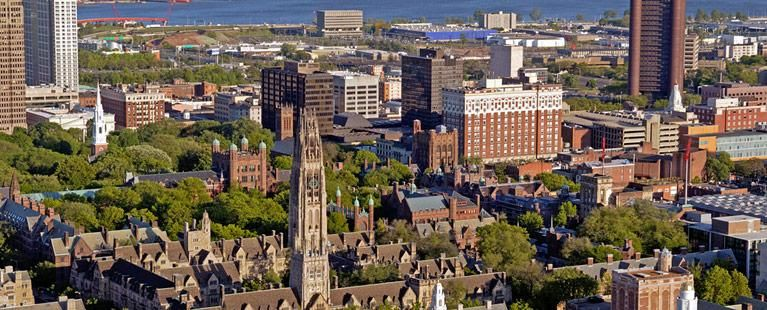 Skyline with Yale Harkness Tower and city in the