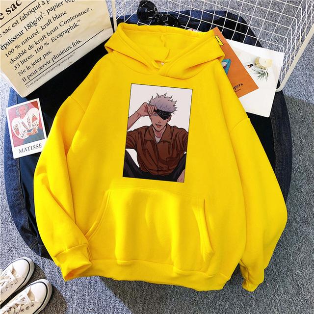 Satoru Gojo Jujutsu Kaisen Temak Pulover In 2021 Hoodie Print Casual Sweatshirt Hoodies Men