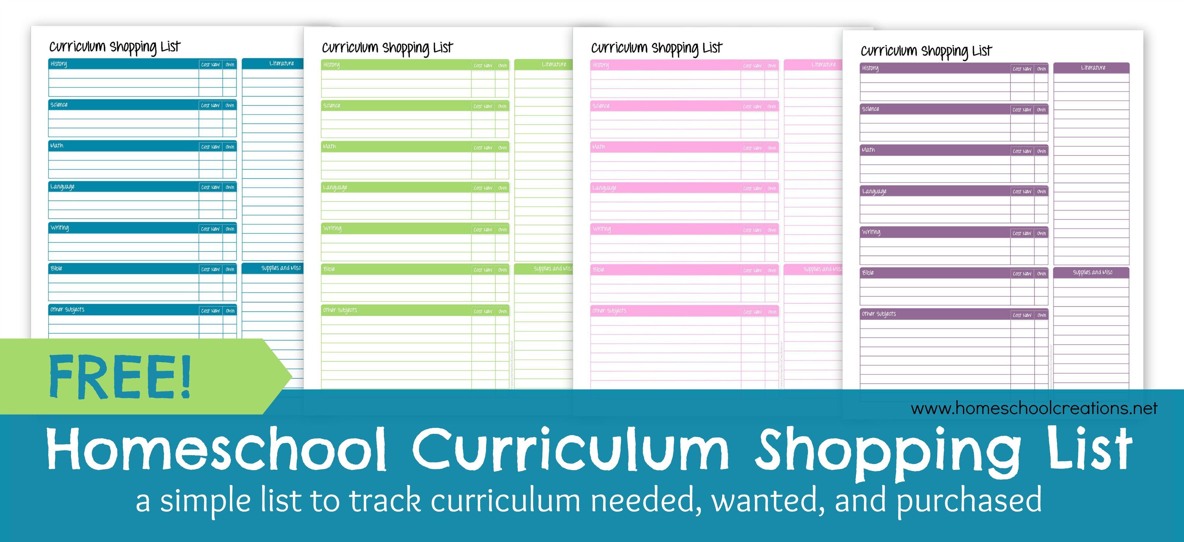 Homeschool Curriculum Shopping List: Free Printable ...