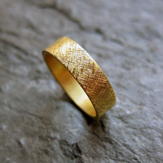 22k Yellow Gold Wedding Band Rustic Texture 5mm By Metalicious