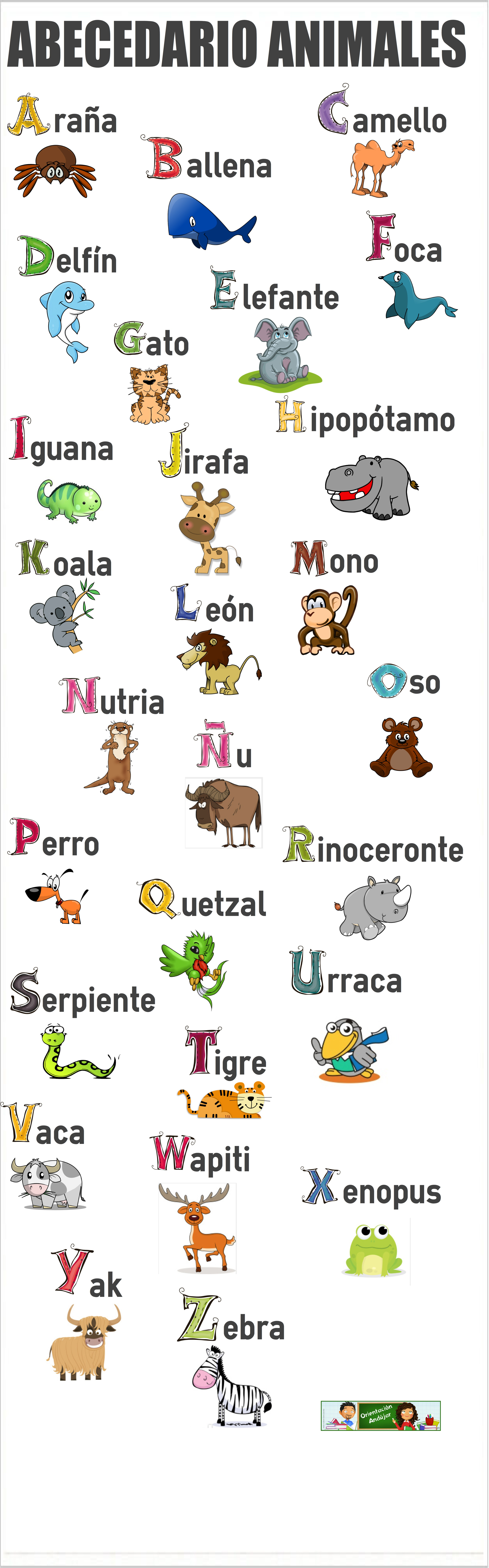 El Abecedario De Los Animales Orientacion Andujar Learning Spanish Spanish Language Learning Spanish Kids