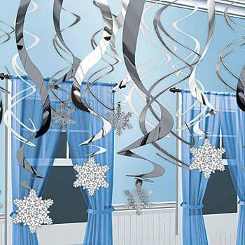 Our Snowflake Hanging Swirl Decorations Features Silver