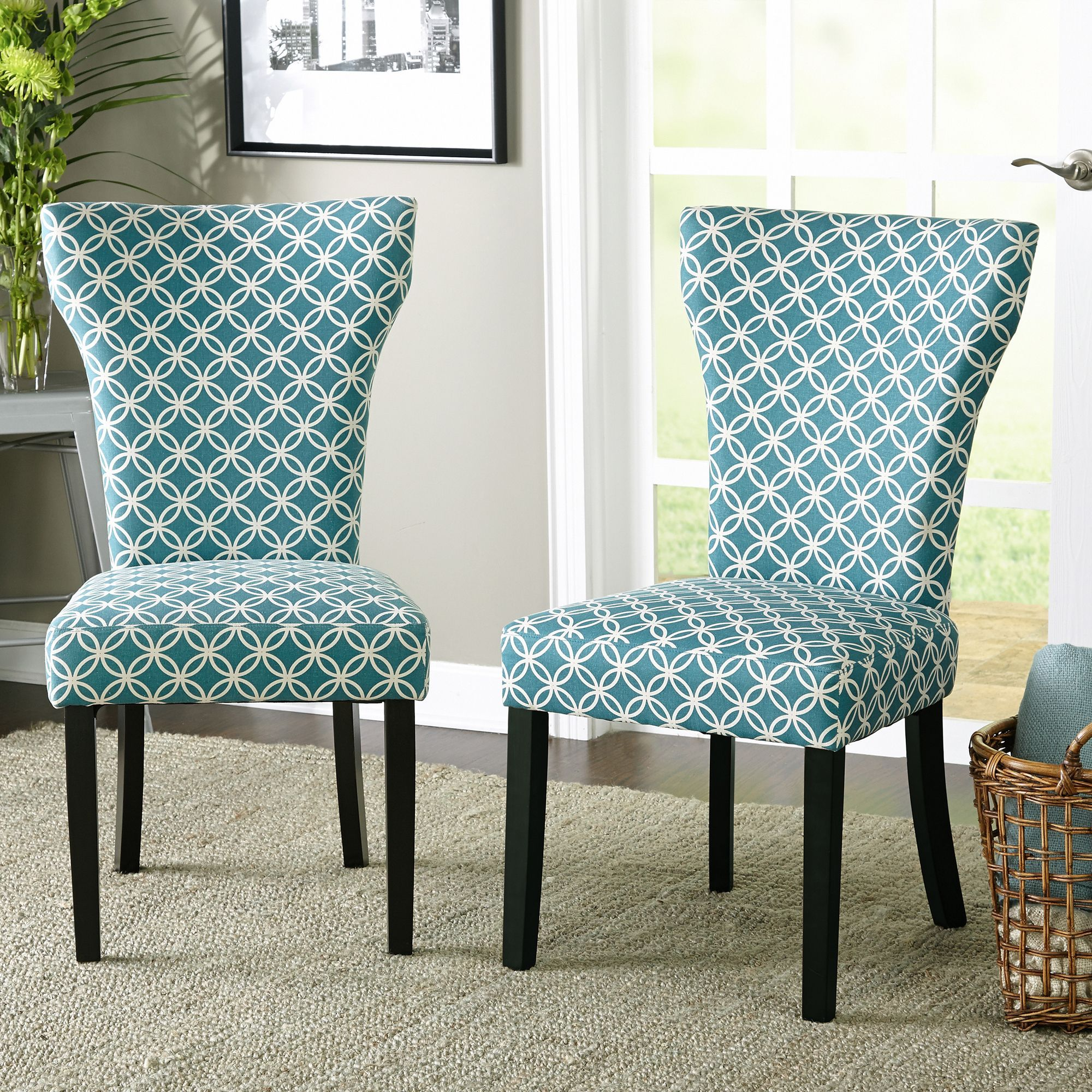 Simple Living Stella Dining Chair (Set of 2) (Grey/Off white (Set of ...