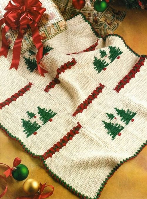 X028 Crochet Pattern Only Tree Night Before Christmas Afghan Patte