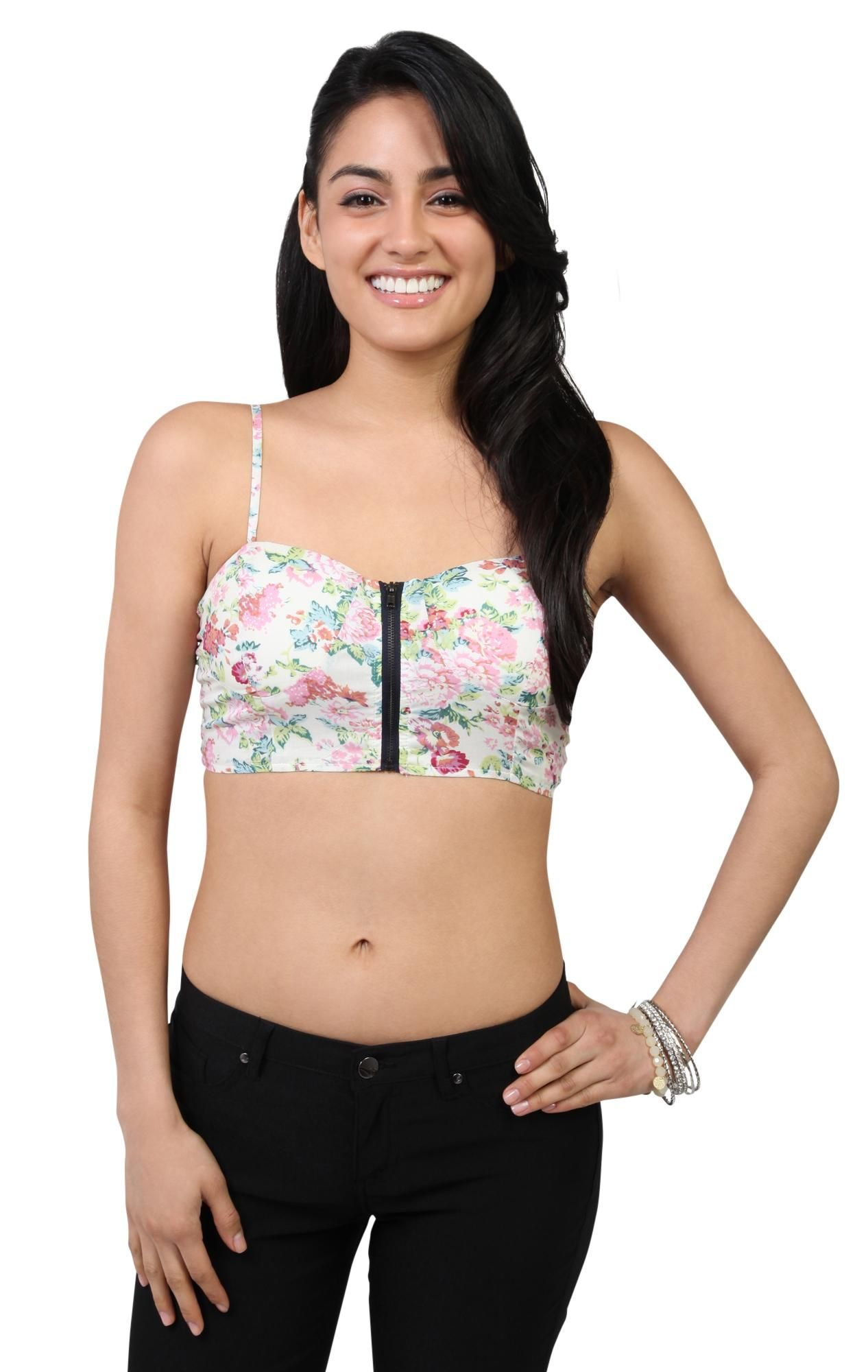 Deb Shops #floral print #cropped bra cup corset with front zipper and smocked back
