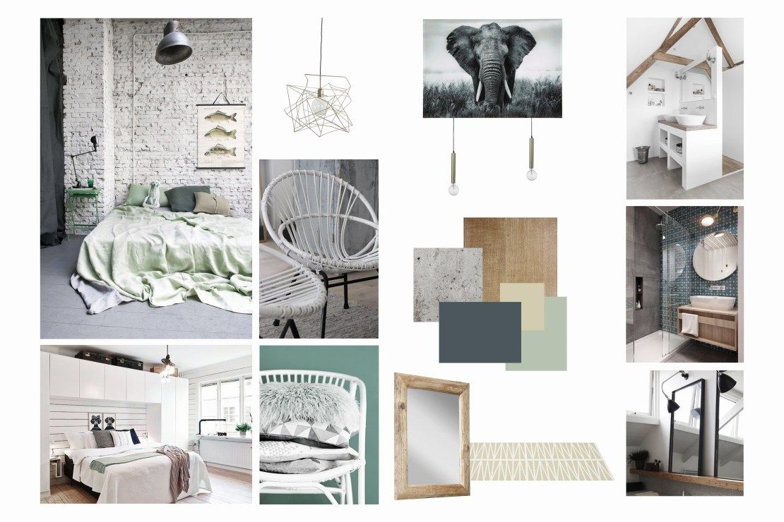 planche d 39 ambiance chambre scandinave design lumineux ambiance vert bois blanc ambiance. Black Bedroom Furniture Sets. Home Design Ideas