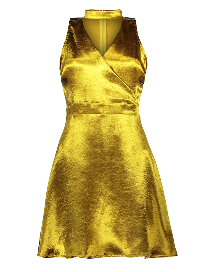 Mini Metallic Satin Choker Dress - GOLDEN S
