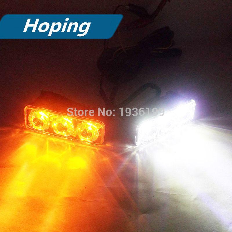Hoping 2pcs Car Led Bulb Dual Color Super Bright Led Daytime Running Lights Amber White Waterproof Rdl Lamp Car Led Running Lights Led Bulb