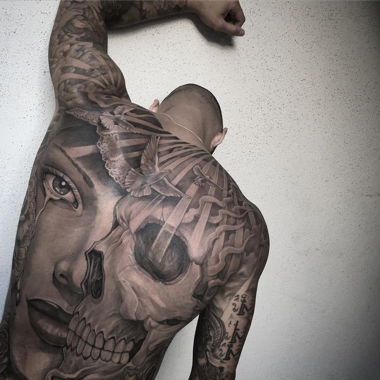 72f576481 Black & grey portrait and skull, guy's full back piece, tattooed by Chicano  Tattoo.