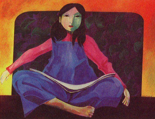 Menina lendo, 1978 Aldemir Martins ( Brasil, 1922-2006) acrílica sobre tela, 90 x 116 cm