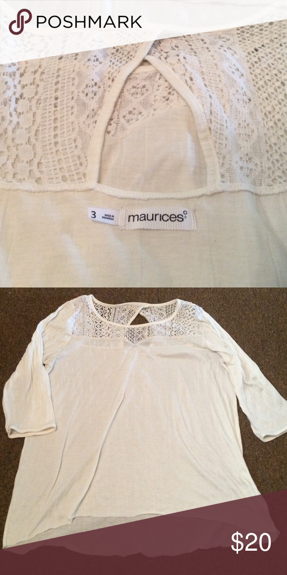 Maurices brand size 3 shirt Maurices brand high low style 3/4 length shirt with shoulder detail. Great shape. Worn a handful of times. Very comfortable! Maurices Tops