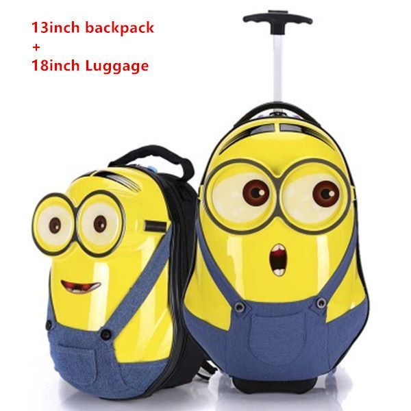 c3ea1342b017 Minions Child Luggage,Despicable Me Suitcase,3D Cartoon backpack ...