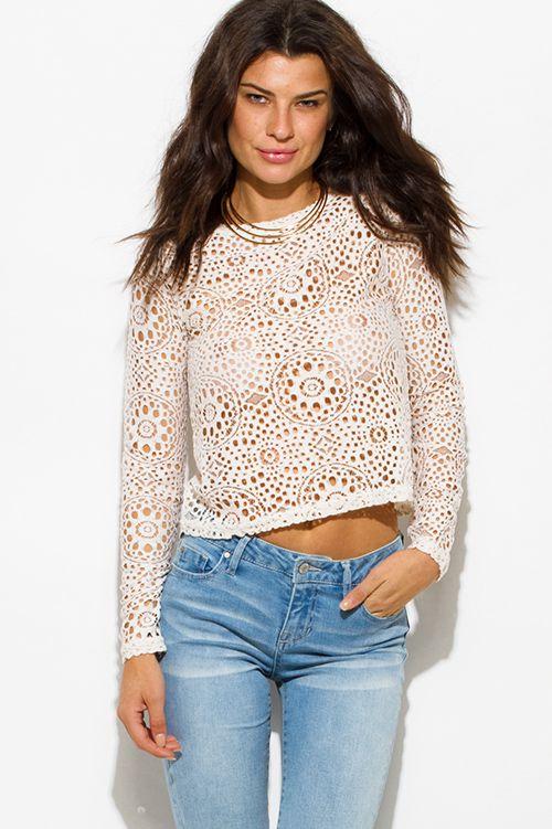 00163c2b0639cd Cute cheap ivory white sheer crochet lace long sleeve boho crop blouse top