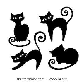 a set of stylized handdrawn black cat silhouettes in