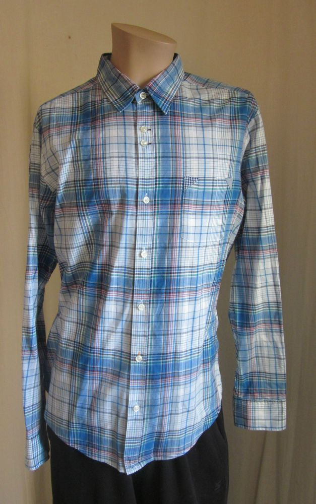 HUGO BOSS ORANGE Button Front Lightweight Cotton Plaid Shirt XL XLarge  #BossOrangeHugoBoss #ButtonFront
