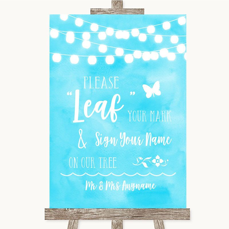 b6f791bff Aqua Sky Blue Watercolour Lights Fingerprint Tree Instructions Wedding Sign  Watercolour Lights Blue