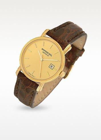 97526f789 RAYMOND WEIL . #raymondweil #brown croco-stamped leather strap 18k ...