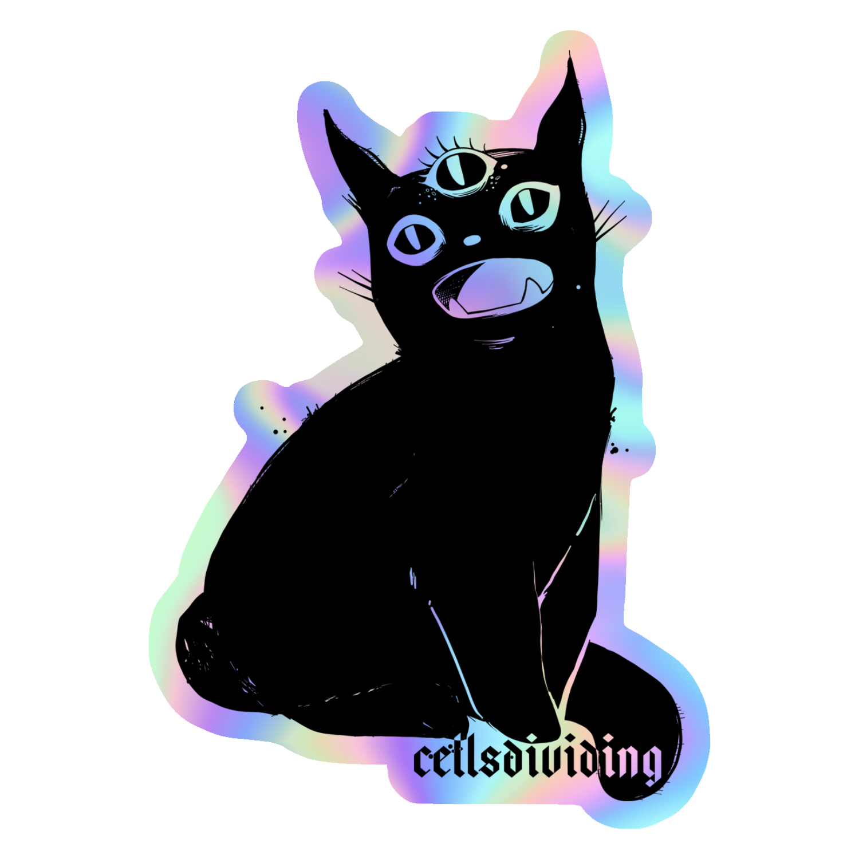 Third Eye Black Cat Holographic Sticker Black Cat Drawing Creepy Cute Pop Illustration