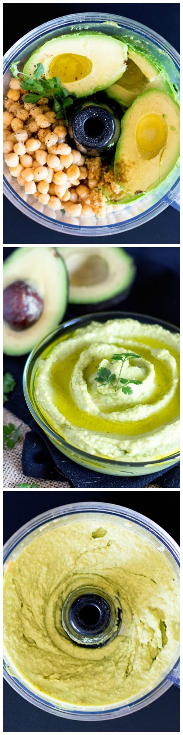 Rich and creamy hummus made with avocado and chickpeas.