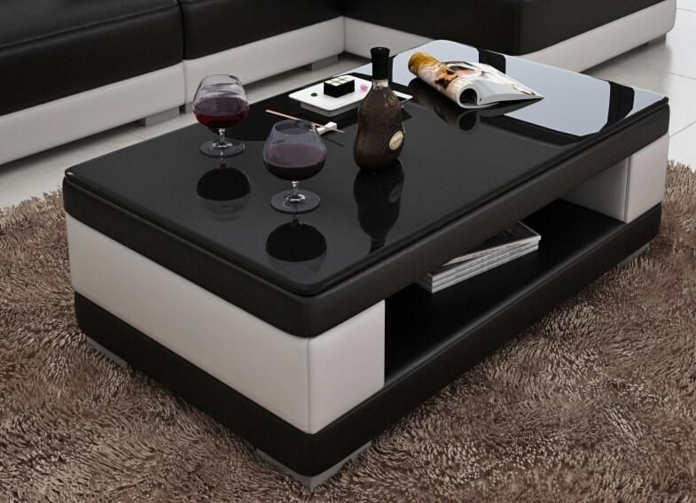 Contemporary Black And White Leather Coffee Table W Black Glass